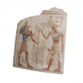 Bajo relieve egipcio Seti I con Anubis
